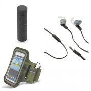 Set Celly Armband XXL Green and Powerbank 2600mAh Splash and Handsfree Fitbeat Black (BUNDLESPORT3)