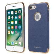 IPAKY Cross Pattern Leather Coated Plating TPU Shell for iPhone 8/7 4.7 inch - Blue