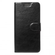 Crazy Horse Grain Flip Wallet Leather Cell Phone Casing Built-in Steel Sheet for Huawei Y7 - Black