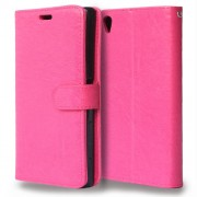 Δερμάτινη Θήκη Πορτοφόλι με Βάση Στήριξης για Sony Xperia Z5 Premium / Dual - Φούξια