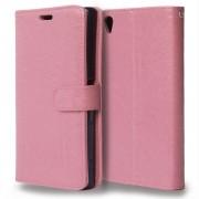 Δερμάτινη Θήκη Πορτοφόλι με Βάση Στήριξης για Sony Xperia Z5 Premium / Dual - Ροζ