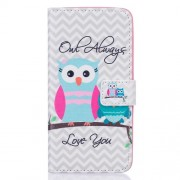 Patterned Wallet Stand Leather Shell for Samsung Galaxy J5 (2016) - Owls and Chevron