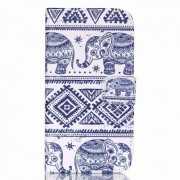 Wallet Leather Stand Cover for Samsung Galaxy J5 SM-J500F - Elephant and Geometric Pattern