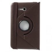 Περιστρεφόμενη Δερμάτινη Θήκη Βιβλίο με Βάση Στήριξης για Samsung Galaxy Tab 3 7.0 Lite T110 T111 - Καφέ