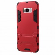 For Samsung Galaxy S8 Hybrid Phone Casing with Kickstand (PC + TPU) - Red
