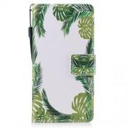 Δερμάτινη Θήκη Πορτοφόλι με Βάση Στήριξης για Samsung Galaxy A5 (2017) - Πράσινα Φύλλα