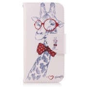 Patterned Leather Stand Mobile Case for Samsung Galaxy A3 (2017) - Giraffe Wearing Bowknot and Glasses