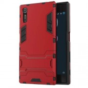 Cool PC and TPU 2 in 1 Combo Back Case for Sony Xperia XZs / XZ with Kickstand - Red