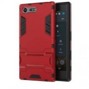 Υβριδική Θήκη Συνδυασμού Σιλικόνης TPU και Πλαστικού με Βάση Στήριξης για Sony Xperia X Compact - Κόκκινο