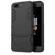 Υβριδική Θήκη Συνδυασμού Σιλικόνης TPU και Πλαστικού με Βάση Στήριξης για OnePlus 5 - Μαύρο