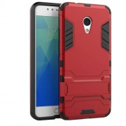 Cool Plastic TPU Kickstand Case Protective Cover for Meizu M5s - Red