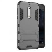 Υβριδική Θήκη Συνδυασμού Σιλικόνης TPU και Πλαστικού με Βάση Στήριξης για Nokia 5 - Γκρι