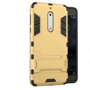 Υβριδική Θήκη Συνδυασμού Σιλικόνης TPU και Πλαστικού με Βάση Στήριξης για Nokia 5 - Χρυσαφί