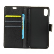 Litchi Skin PU Leather Wallet Stand Phone Case for iPhone X - Black