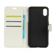 Litchi Skin PU Leather Wallet Stand Phone Cover for iPhone X - White