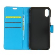 Litchi Skin PU Leather Wallet Stand Mobile Phone Case for iPhone X - Blue