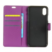 Litchi Skin PU Leather Wallet Stand Cell Phone Cover for iPhone X - Purple