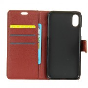 Litchi Skin PU Leather Wallet Stand Phone Case with Magnet for iPhone X - Brown