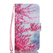 Pattern Printing Stand Leather Wallet Phone Cover for iPhone X - Blooming Flowers
