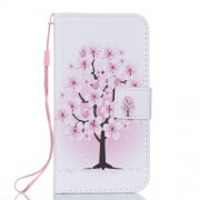 Pattern Printing Wallet Stand Leather Folio Case with Strap for iPhone X - Flower Tree