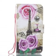 Pattern Printing Wallet Leather Foldable Case Accessory with Lanyard for iPhone X - Eiffel Tower