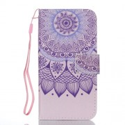 Pattern Printing Stand Leather Wallet Protective Cover for iPhone X - Mandala Pattern