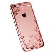 Θήκη Σιλικόνης TPU Με Ανάγλυφα Λουλούδια, Πεταλούδα και Στρασάκια για iPhone 6 6s - Ροζέ Χρυσαφί