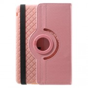 Twill Grain PU Leather Cover w/ 360 Degree Rotatory Stand for iPad Mini / Mini 2 / Mini 3 - Pink