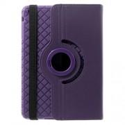 Twill Grain Leather Case Cover w/ 360 Degree Rotatory Stand for iPad Mini / Mini 2 / Mini 3 - Purple