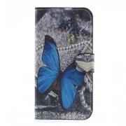 Δερμάτινη Θήκη Πορτοφόλι με Βάση Στήριξης για Samsung Galaxy J5 (2017) Ευρωπαϊκή Έκδοση - Μπλε Πεταλούδα