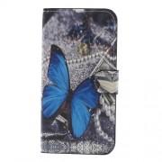 Δερμάτινη Θήκη Πορτοφόλι με Βάση Στήριξης για Samsung Galaxy J7 (2017) Ευρωπαϊκή Έκδοση - Μπλε Πεταλούδα