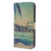 Δερμάτινη Θήκη Πορτοφόλι με Βάση Στήριξης για Samsung Galaxy J7 (2017) Ευρωπαϊκή Έκδοση - Παραλία και Άγκυρα