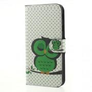 Δερμάτινη Θήκη Πορτοφόλι με Βάση Στήριξης για Samsung Galaxy J7 (2017) Ευρωπαϊκή Έκδοση - Πράσινη Κοιμισμένη Κουκουβάγια