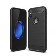Θήκη Σιλικόνης TPU Carbon Fiber Brushed για iPhone X - Μαύρο