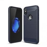 Θήκη Σιλικόνης TPU Carbon Fiber Brushed για iPhone X - Σκούρο Μπλε