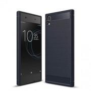 Θήκη Σιλικόνης TPU Carbon Fiber Brushed για Sony Xperia XA1 Ultra - Σκούρο Μπλε