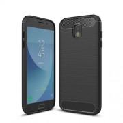 Θήκη Σιλικόνης TPU Carbon Fiber Brushed για Samsung Galaxy J7 (2017) Ευρωπαϊκή Έκδοση - Μαύρο