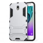 Υβριδική Θήκη Συνδυασμού Σιλικόνης και Πλαστικού με Βάση Στήριξης για Samsung Galaxy J7 (2017) Ευρωπαϊκή Έκδοση - Ασημί