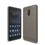 Carbon Fibre Brushed TPU Cell Phone Case for Nokia 6 - Grey