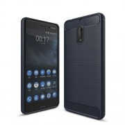 Carbon Fibre Brushed TPU Soft Case for Nokia 6 - Dark Blue