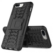 2-in-1 Tyre Pattern Kickstand PC + TPU Hybrid Phone Case for OnePlus 5 - Black