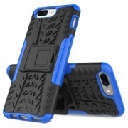 2-in-1 Tyre Pattern Kickstand PC + TPU Hybrid Mobile Casing for OnePlus 5 - Blue