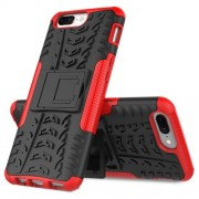 2-in-1 Tyre Pattern Kickstand PC + TPU Hybrid Phone Cover for OnePlus 5 - Red