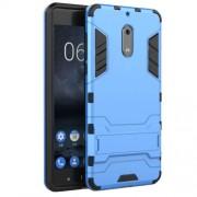 Υβριδική Θήκη Συνδυασμού Σιλικόνης TPU και Πλαστικού με Βάση Στήριξης για Nokia 6 - Μπλε
