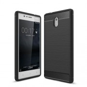 Carbon Fibre Brushed TPU Case for Nokia 3 - Black