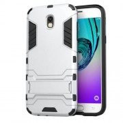 Θήκη Σιλικόνης TPU σε Συνδυασμό με Πλαστικό και Βάση Στήριξης για Samsung Galaxy J5 (2017) Ευρωπαϊκή Έκδοση - Ασημί