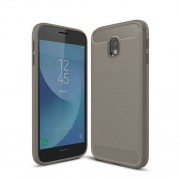 Carbon Fiber Texture Brushed TPU Back Protective Case for Samsung Galaxy J3 (2017) EU Version - Grey