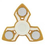 Fidget Spinner Παιχνίδι Αντιστρες Αλουμινίου και Πλαστικού με Τρεις Έλικες (Χρόνος περιστροφής 2 Λεπτά) - Κίτρινο