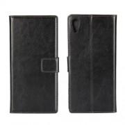 Δερμάτινη Θήκη Πορτοφόλι με Βάση Στήριξης για Sony Xperia XA1 - Μαύρο