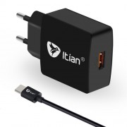 ITIAN K6 Charger Kit QC3.0 Wall Charger + USB Type-C Cable for Nintendo Switch/ Samsung Galaxy S8/S8 Plus - EU Plug